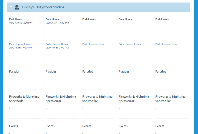 Disney World Theme Park hours released through July 17th 4