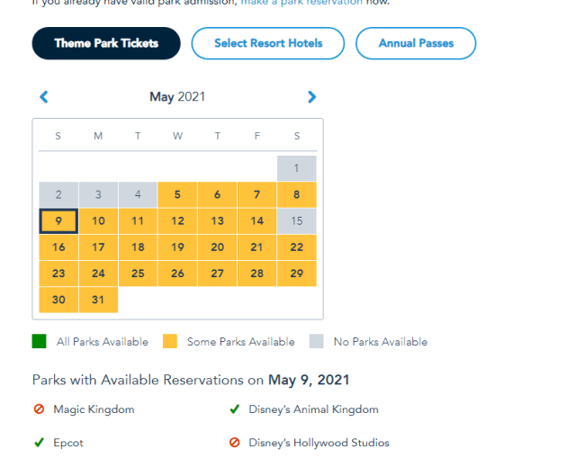 Magic Kingdom and Hollywood Studios already booked for Mother's Day 5