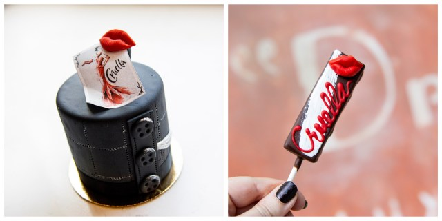 Side by side image of two Cruella inspired treats