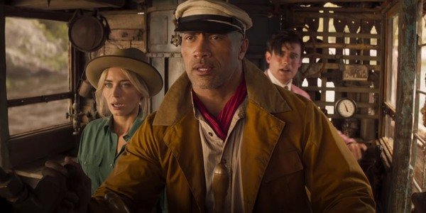 Emily Blunt, Dwayne Johnson, and Jack Whitehall in Disney's Jungle Cruise