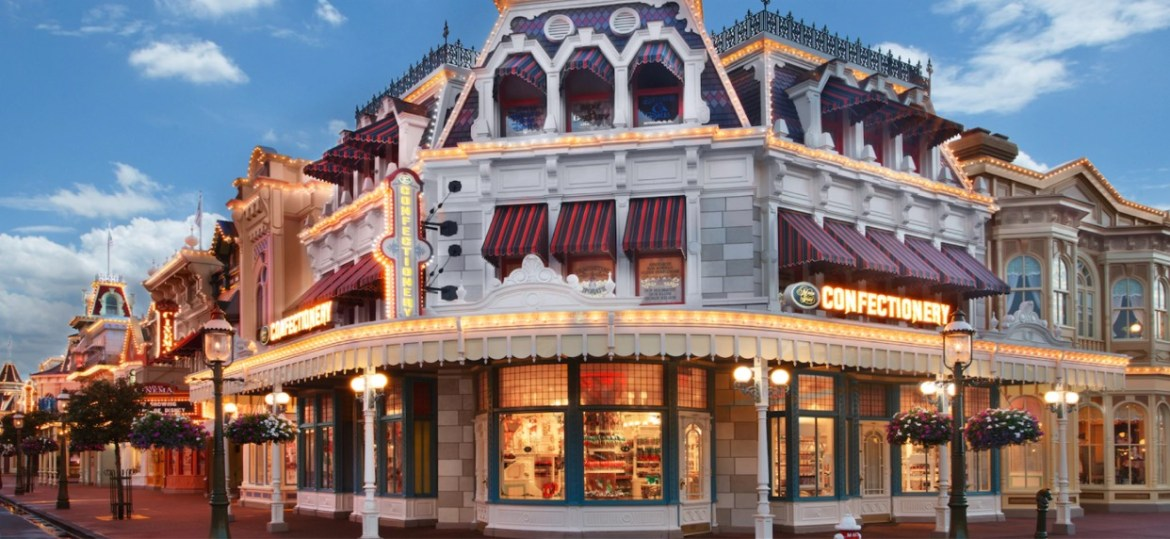 Construction walls go up around Main Street Confectionery in the Magic Kingdom