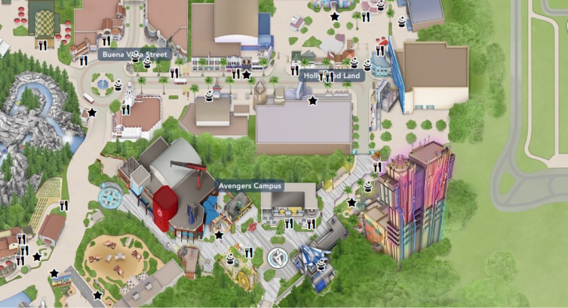 Marvel Avengers Campus now showing up on California Adventure Park Map