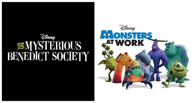 The Mysterious Benedict Society logo (left) and Monsters at Work logo and characters (right)