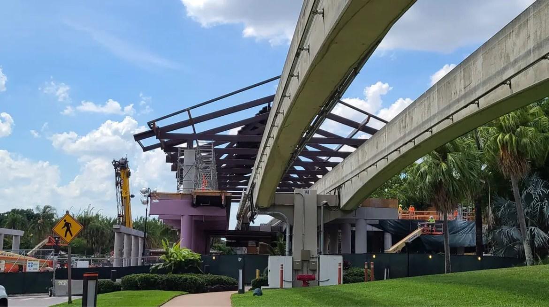 Roof being installed at Disney's Polynesian Resort Monorail Platform