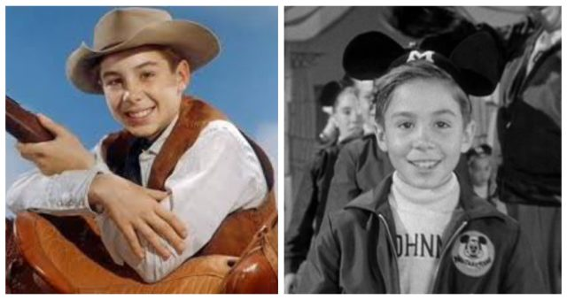 Johnny Crawford in The Rifleman (left) and The Mickey Mouse Club (right)