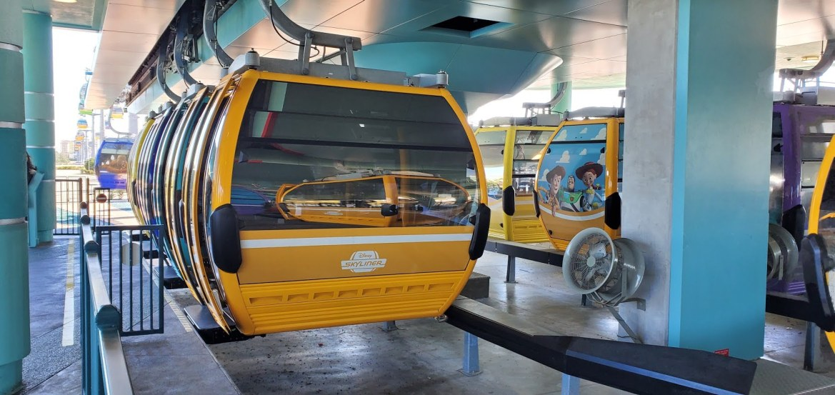 Multiple parties now being boarded on Disney's Skyliner