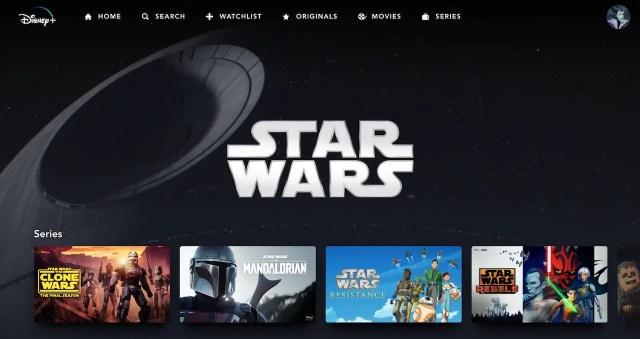 Star Wars Category on Disney+