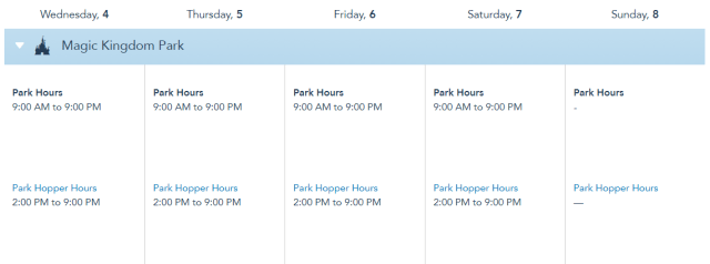 Disney World Theme Park Hours released for the first week of August 1