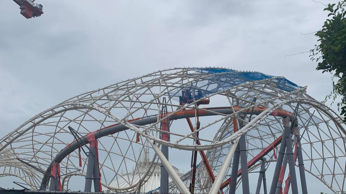Blue netting added to Tron Coaster in the Magic Kingdom