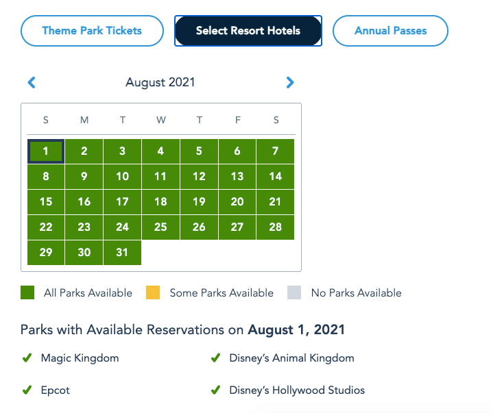 More Disney World Park Pass Reservations opened for Summer 3