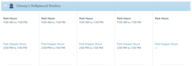 Disney World Theme Park Hours released through August 28th 3