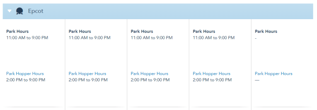 Disney World Theme Park Hours released through August 21st 2