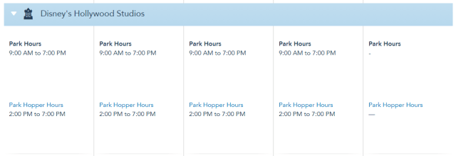 Disney World Theme Park Hours released through August 21st 3