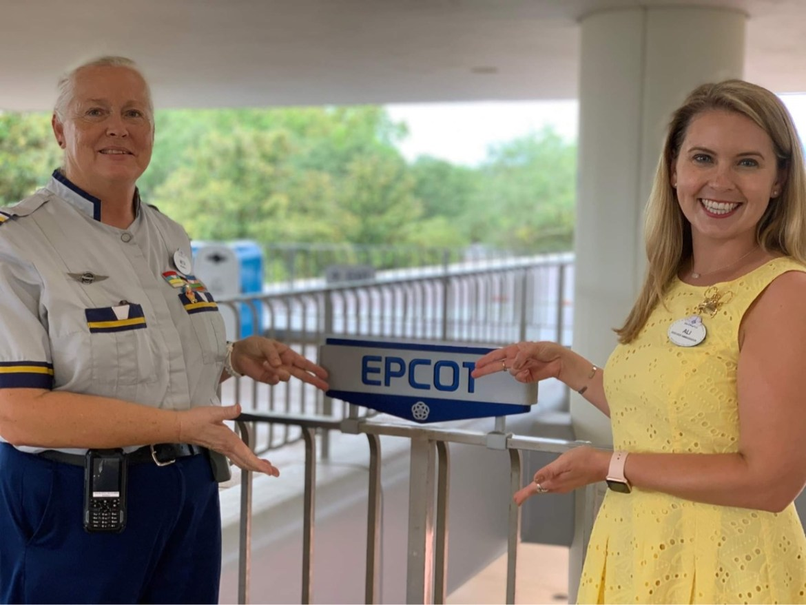 Disney Cast Members celebrate the reopening of the Epcot Monorail Line