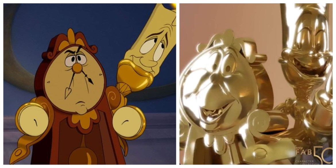"""Lumiere and Cogsworth Statues Revealed for """"Disney Fab 50 Character Collection"""""""