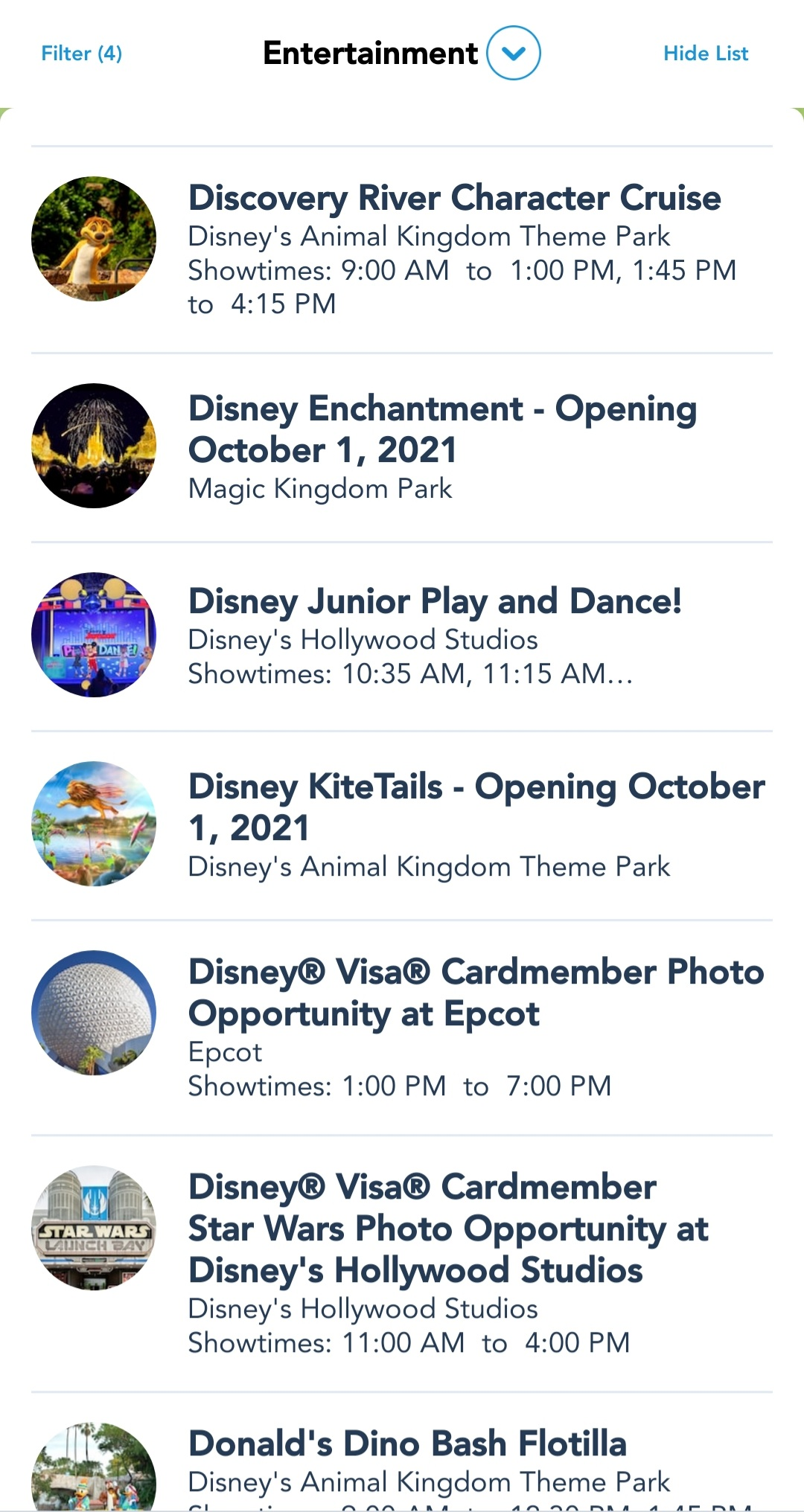 My Disney Experience App now lists Character Cavalcade Show Times 7