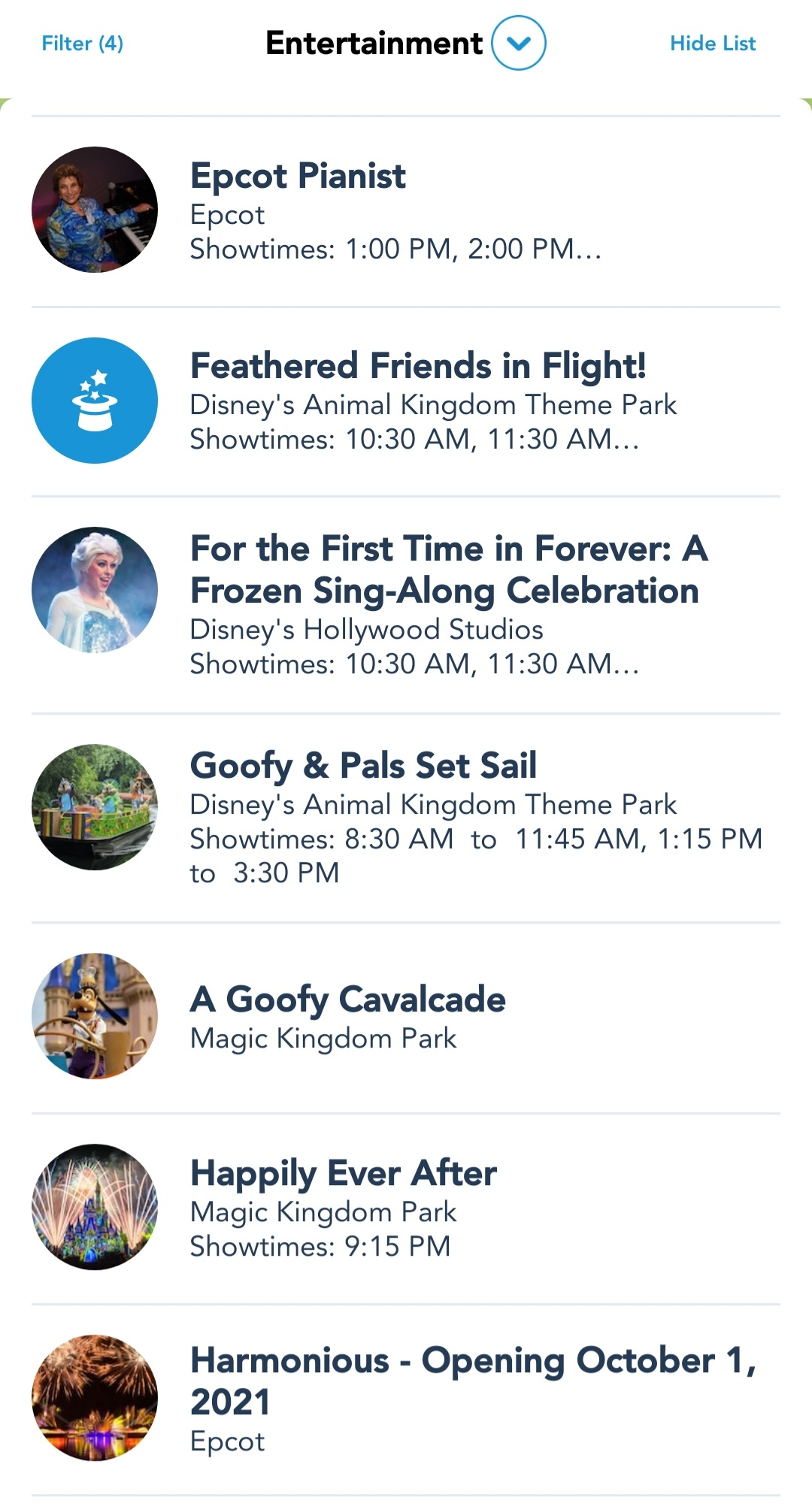 My Disney Experience App now lists Character Cavalcade Show Times 8