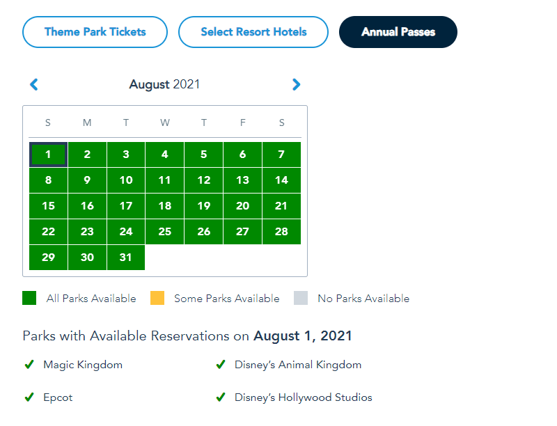 More Disney World Theme Park Reservations added for Summer 5