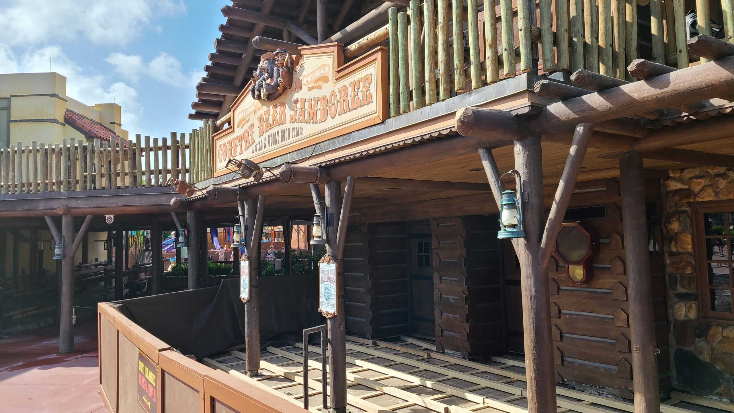 Construction on the entrance of Country Bear Jamboree 1