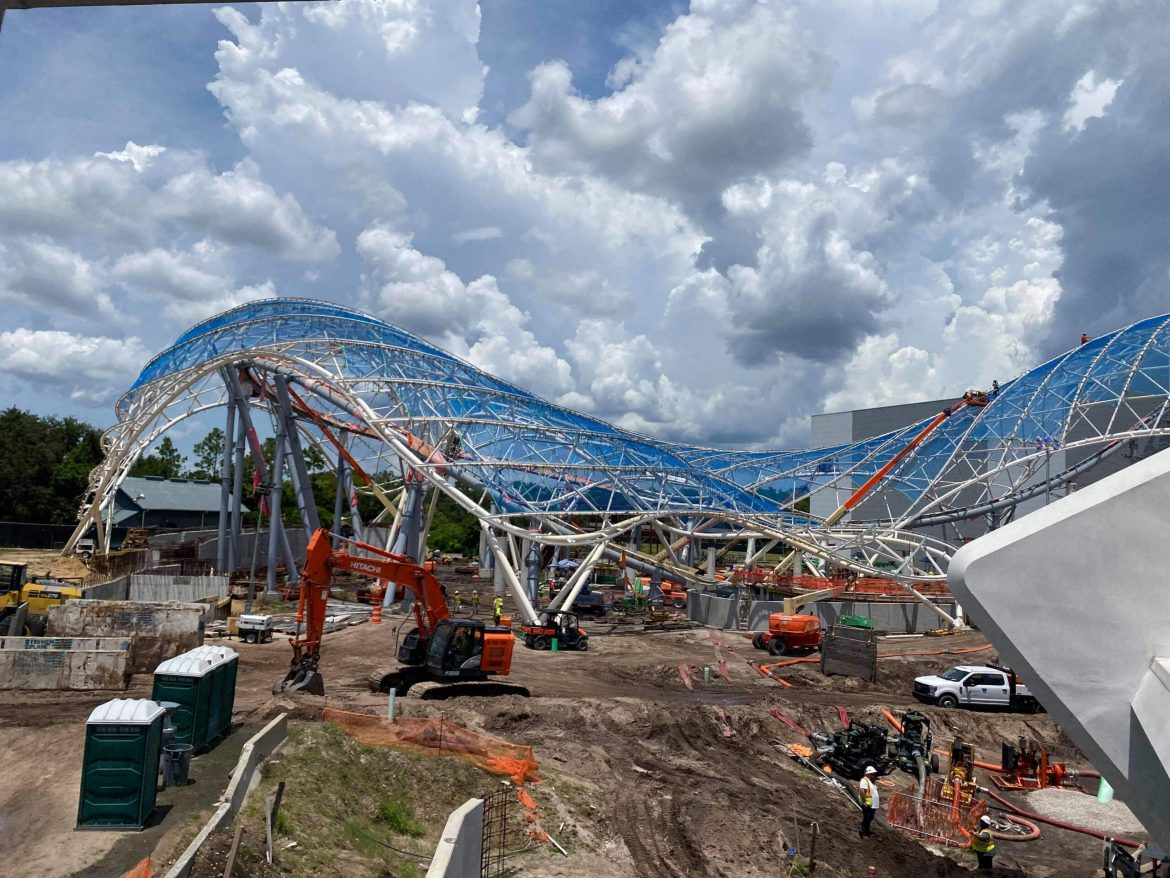 More of the canopy is installed for Tron Lightcycle Run in the Magic Kingdom