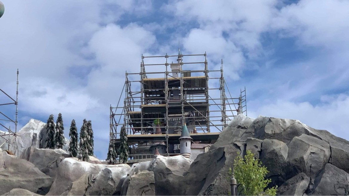 Construction continues on Beauty & the Beast Castle in the Magic Kingdom