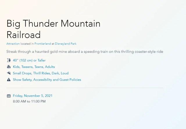 Big Thunder Mountain Railroad reopening in November 2