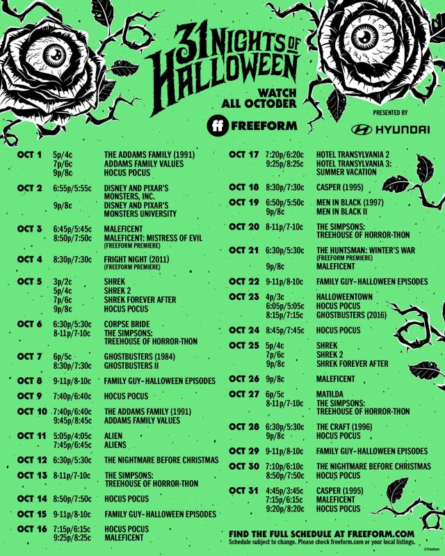 '31 Nights of Halloween' Full Schedule Announced for October 2021 1