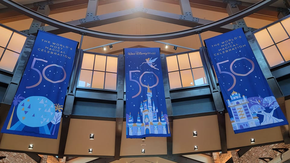 50th Anniversary Banners added to World of Disney Store in Disney Springs