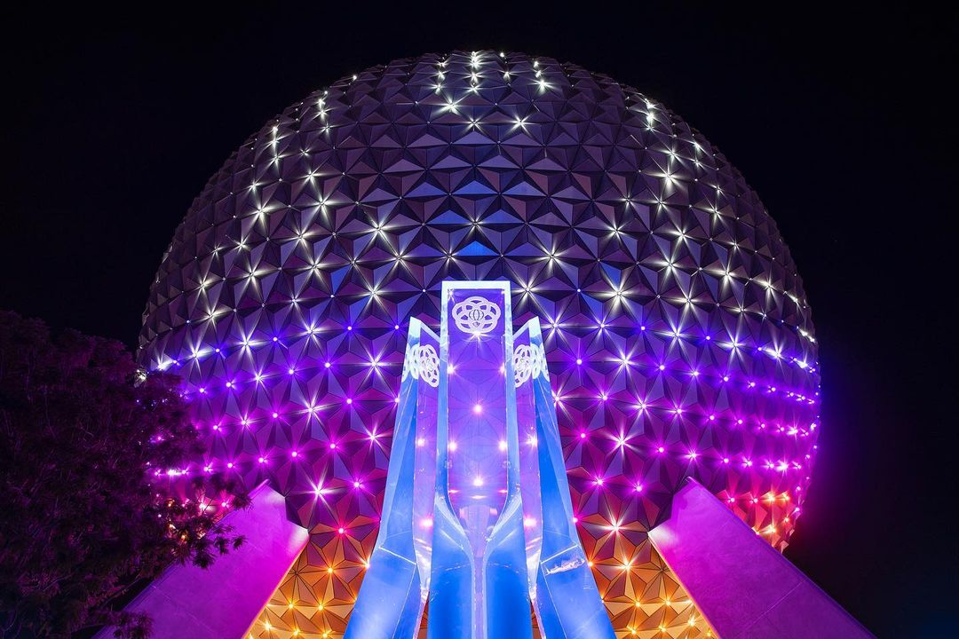 Spaceship Earth testing New LED Lights at Epcot