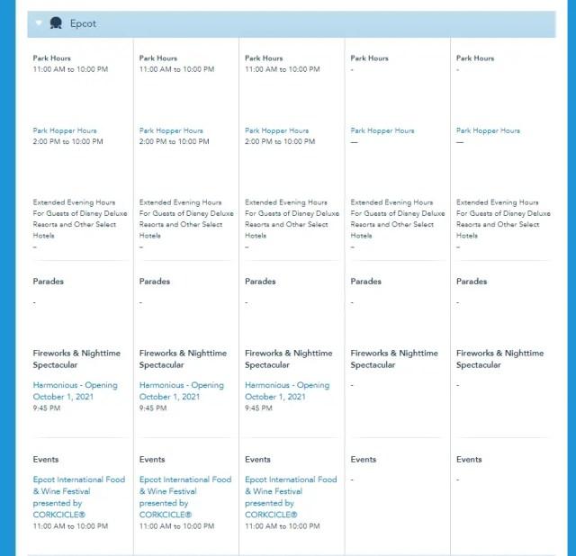 Disney World Theme Park Hours released through November 13th 3