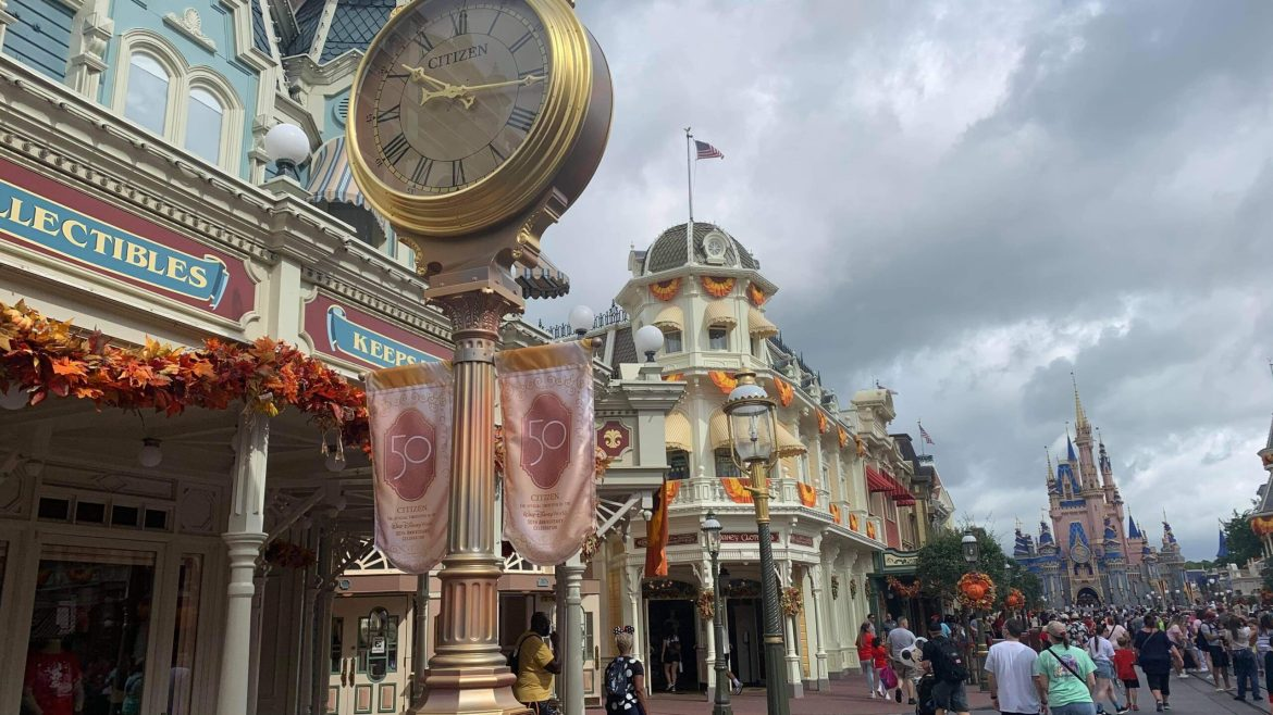 Golden Lampposts installed in the Magic Kingdom for Disney World's 50th