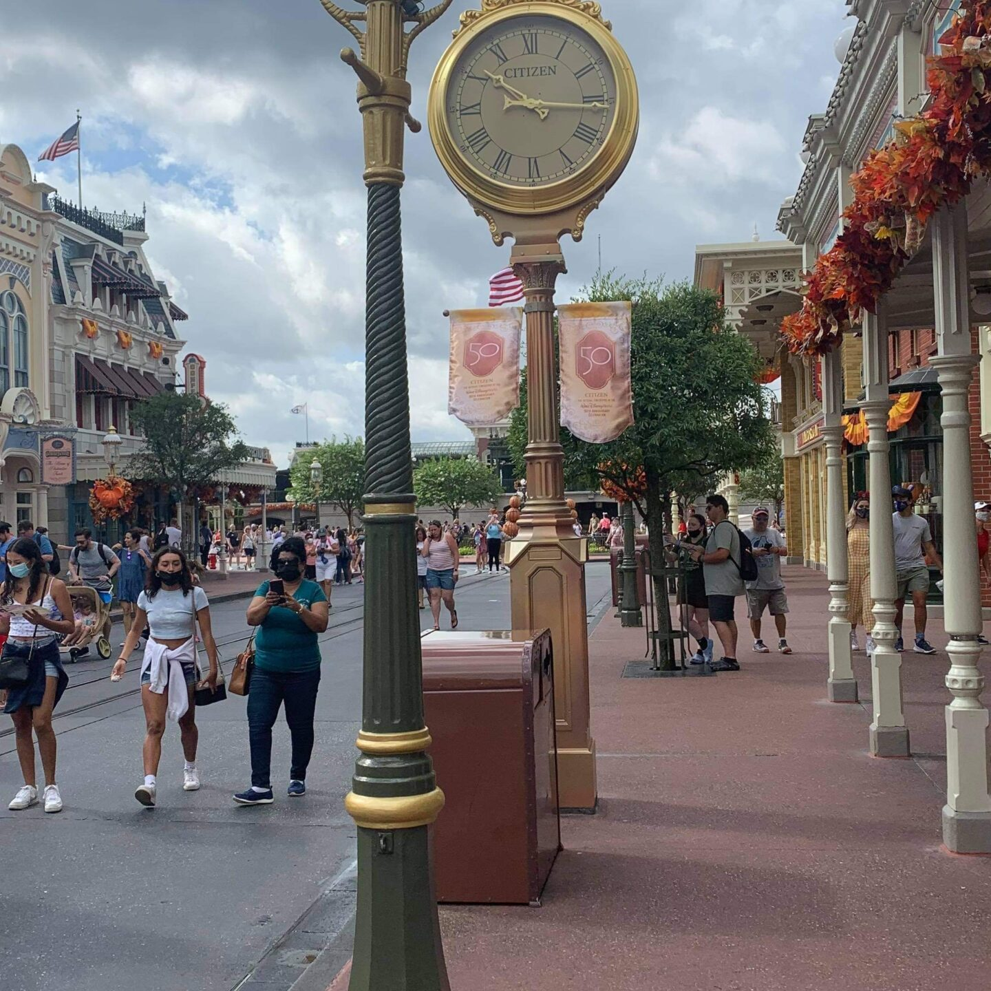 Golden Lampposts installed in the Magic Kingdom for Disney World's 50th 3