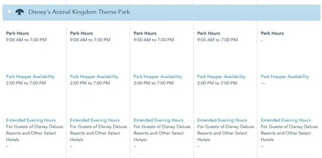Disney World Theme Park Hours released through December 3rd 5