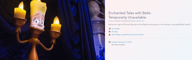 Is Enchanted Tales With Belle reopening soon? 5