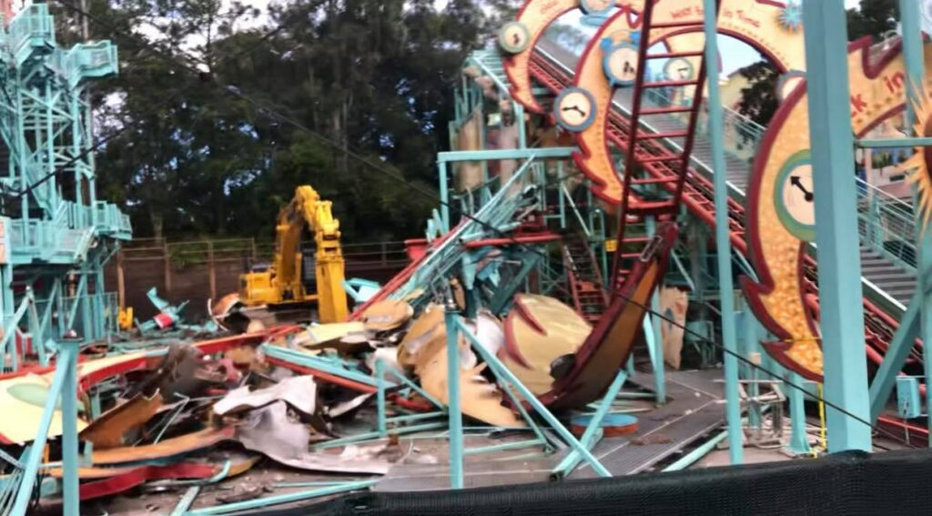 Demolition continues on Primeval Whirl in the Animal Kingdom 3