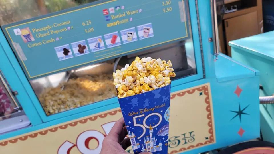 Disney World 50th Anniversary Popcorn gives us island vibes