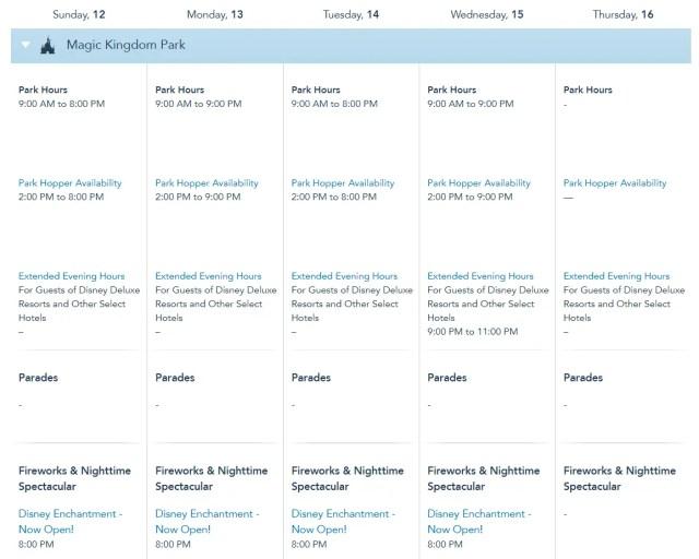 Disney World Theme Park Hours Available Through December 15 2