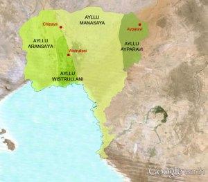 Distribución del territorio de los Ayllus de Chipaya, y sus principales poblaciones.
