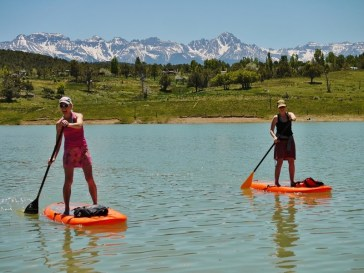 paddleboarding during a mountain getaway in colorado