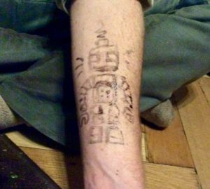 Jagua skin dye tattoo of robot by Suzanne Forbes Nov 16 2016.