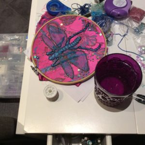 embroidered insect by Suzanne Forbes 2017 work in progress