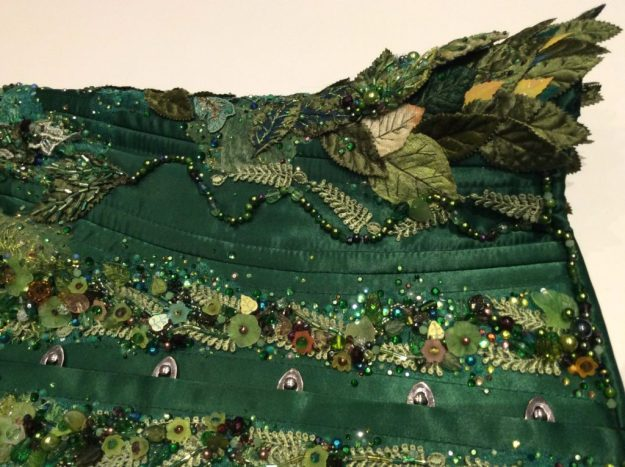 Bead embroidered green woman corset by Suzanne Forbes June 2017