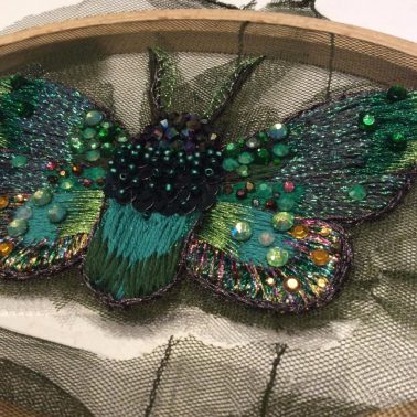 Embroidered moth in progress by Suzanne Forbes June 2017