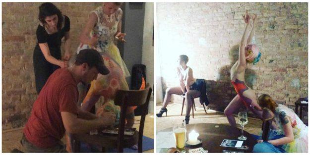 Miss Natasha Enquist posing and Alfred Ladylike as human canvas for Natasha Artworx Aug 19 2017