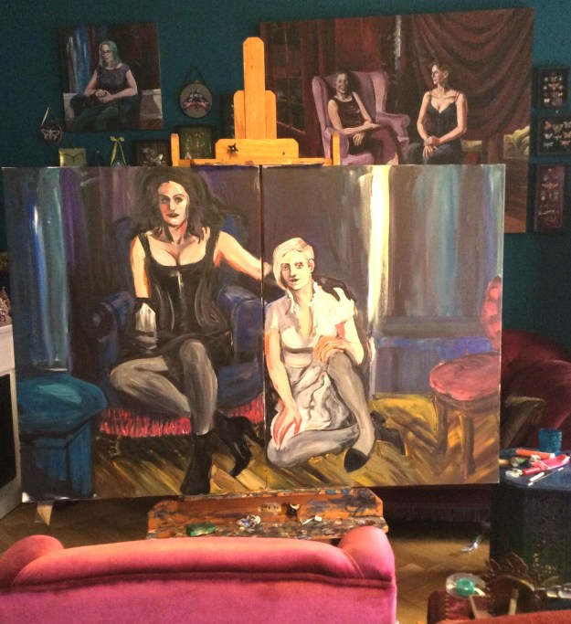 wip Portrait of Sadie Lune and Jo Pollux by Suzanne Forbes Sept 2017