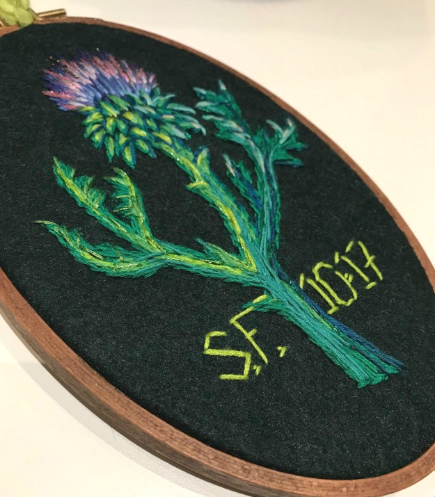 thistle embroidery by Suzanne Forbes closeup Oct 2017