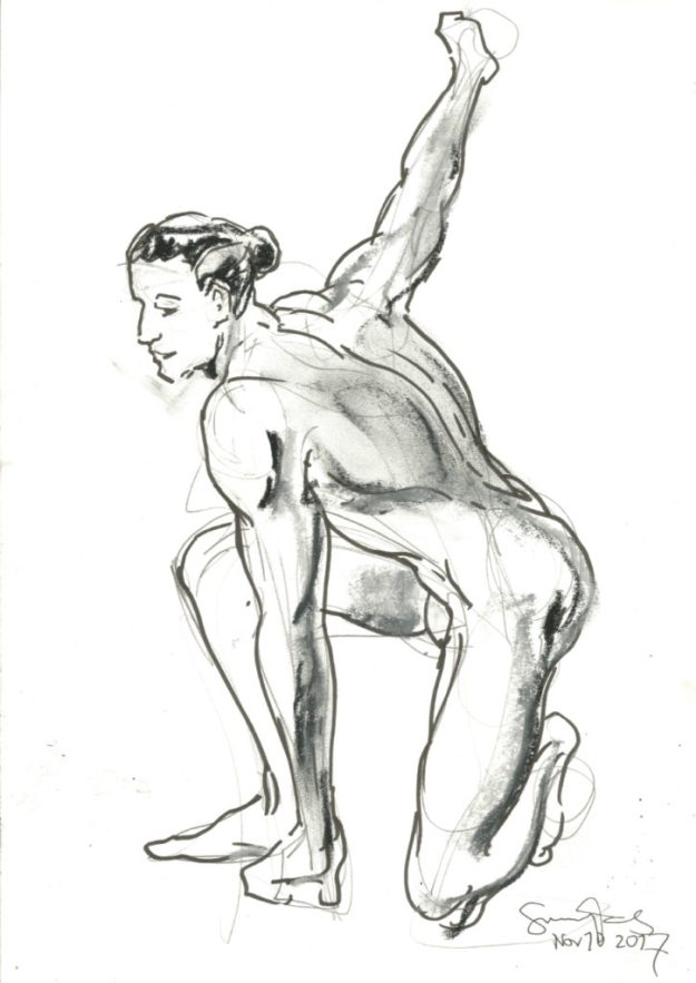 5 minute Life drawing at ESDIP by Suzanne Forbes 2017