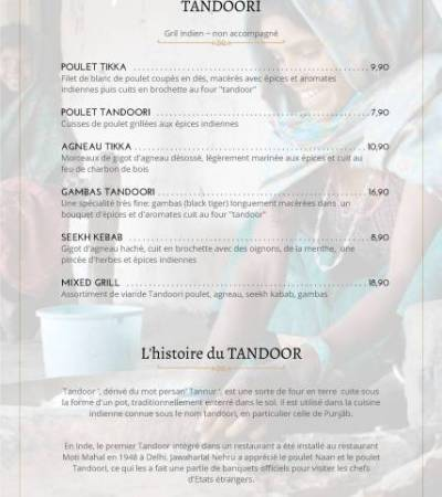 Carte Menu – Restaurant Namaskar