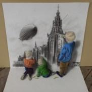 Niños pintando en la pared 3D
