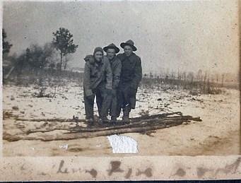 Gathering fire wood (Wm Boles in center)